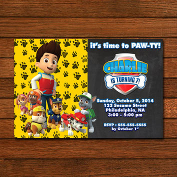 Paw Pawty Patrol Chalkboard No Photo Invitation
