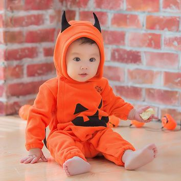 Halloween Newborn Infant Pumpkin Print Hoodies Clothes Child Long Sleeve Romper Jumpsuit Kid Cotton Outfit Costume Baby Boy Girl