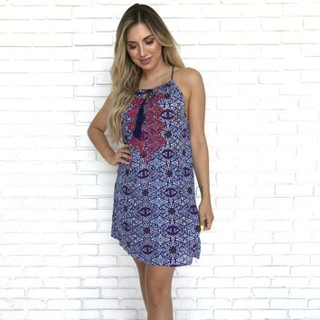 Pacific Pathway Embroidered  Dress