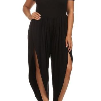 Plus Size Side Split Harem Pants