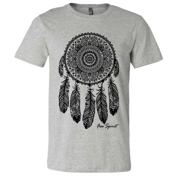 Native American Dreamcatcher Free Spirit Black Asst Colors Mens Fitted Tee