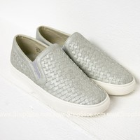Brushed Silver Slip On Shoes