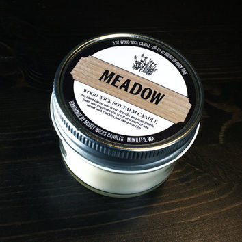 Meadow Scented Wood Wick Candle in Mason Jar