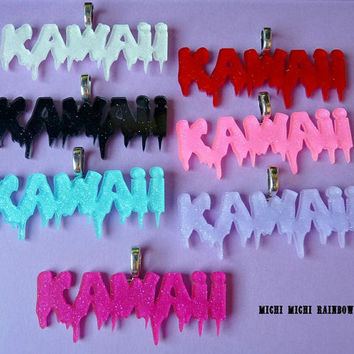 SALE! Glitter KAWAII Acrylic Necklace - Chain Included