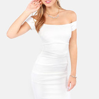 Rubber Ducky Full Steam Ahead Off-the-Shoulder Ivory Dress
