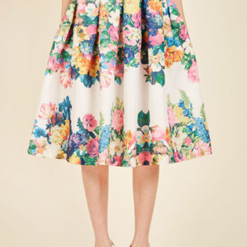 Bouquet of Beauty A-Line Skirt in Eggshell | Mod Retro Vintage Skirts | ModCloth.com