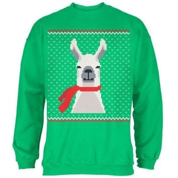 ICIKJY1 Ugly Christmas Sweater Big Llama Irish Green Adult Sweatshirt