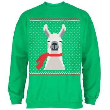 MDIGCY8 Ugly Christmas Sweater Big Llama Irish Green Adult Sweatshirt