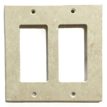 Ivory Travertine Double Rocker Switch Wall Plate / Switch Plate / Cover - Honed