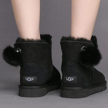 UGG Woman Fur Leather Shoes Boots Short Boots Shoes