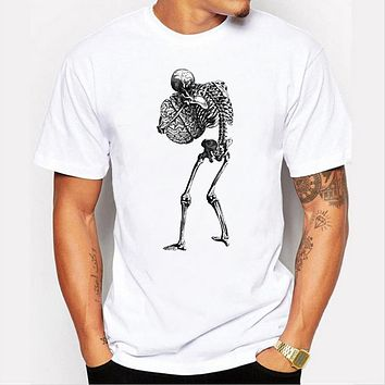 Summer Men's tide O-neck human skeleton personality pattern printed T short sleeve  Cotton tops
