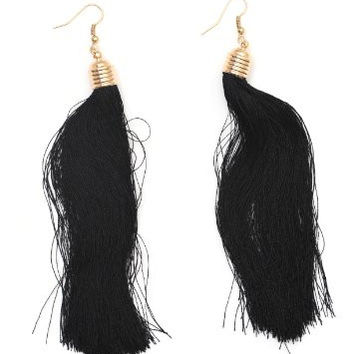 Black Tassel Chandelier Earrings Dangling Fringe EC25 Vintage Gold Tone Fashion Jewelry