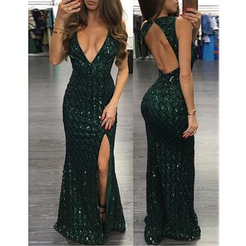 Women Fashion Sexy Sequin dress Evening Party Deep V Neck Sleeveless Backless split dress Celebrity Prom Long Dress vestido