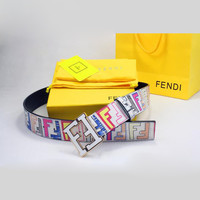 FENDI Men Woman Fashion Smooth Buckle Belt Leather Belt