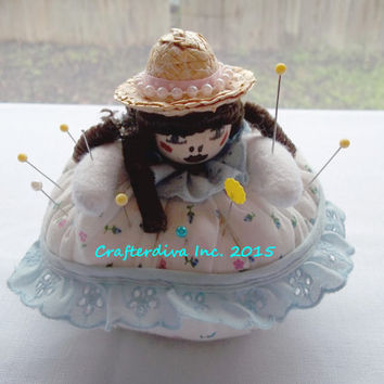 Pin Cushion Doll, Sewing Room Decor, Handcrafted Doll, Home Decore, Craft Room Decor, Craft Supplies, Sewing Tool