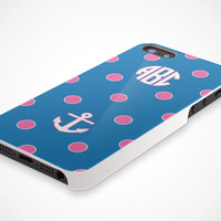 Apple iPhone 5 Cell Phone Case Polka Dot Anchor Custom Personalized Initial Circle Monogram Protective White Plastic Hard Cover VM-1042