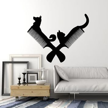 Vinyl Wall Decal Pet Grooming Beauty Salon Comb Dog Cat Animals Mural (g2768)