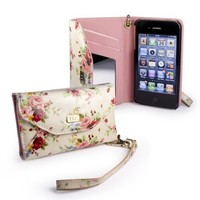 Tuff-Luv Secret Garden Oil-Cloth purse for Apple iPhone 4S / 4 / 4G - Beige