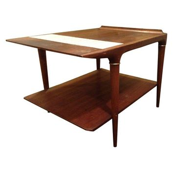 Pre-owned Mid-Century Modern Side Table with Tile Inlay