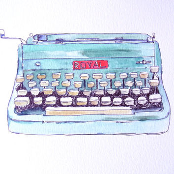 typewriter boho decor art print from original watercolor and ink vintage royal quiet de luxe deluxe typewriter