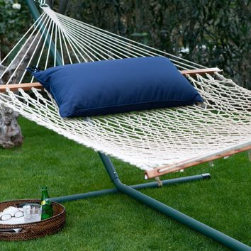 Island Bay 13 ft. XL Rope Hammock with Metal Stand & Pillow   www.hayneedle.com
