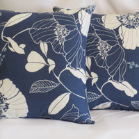 "Pillow Covers 16"" Set of Two - Bold Blue Floral Pattern"
