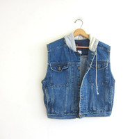Vintage 80s sleeveless jean jacket with hood. denim jean vest hoodie. size medium