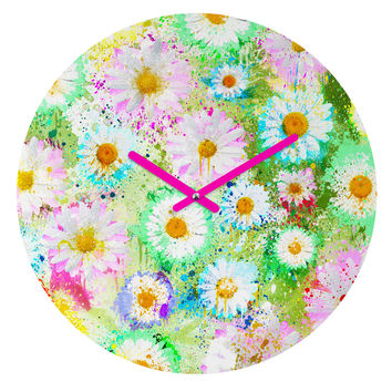 Msimioni Sweet Flowers Colors Round Clock
