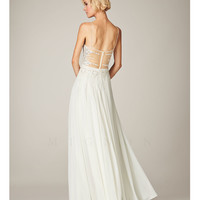 (PRE-ORDER) Mignon Spring 2014 - White Beaded Chiffon Low Back Prom Dress