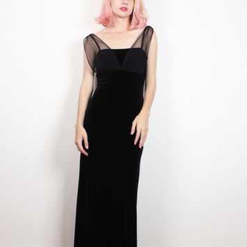 Vintage 90s Dress Black Velvet Dress Sheer Mesh Cap Sleeve Maxi Dress 1990s Dress Soft Goth Dress Morticia Addams Gown Soft Grunge S Small M