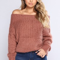 Aleta Off Shoulder Sweater - Red Bean
