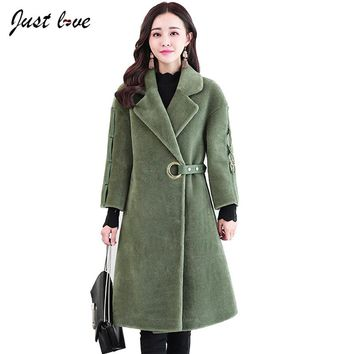 2017 Fashion Autumn Winter Coat Womens Wool Coat  Cocoon Cashmere Coat Long Sleeve Warm Thicken Coat Outerwear Casaco Feminino