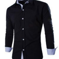Color Block Shirt Collar Long Sleeve Shirt