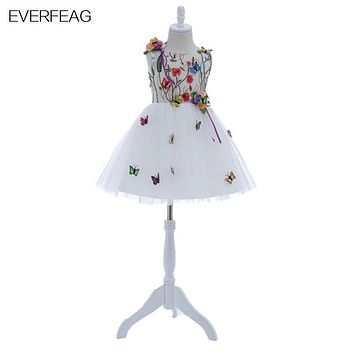 EVERFEAG Short Cute White Flower Flower girls Dresses with Butterfly for Wedding 2017 Knee Length Kids Prom Dresses