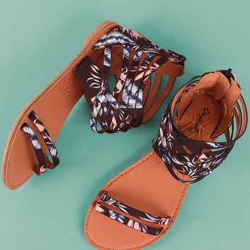 Qupid Tropical Strappy Woven Gladiator Flat Sandal