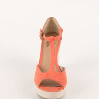 Black Poppy Peep Toe T-Strap Wedge Sandals at PacSun.com