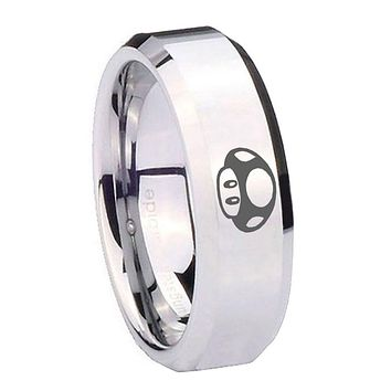 8MM Mirror Bevel Edges Mario Mushroom Silver Tungsten Laser Engraved Ring