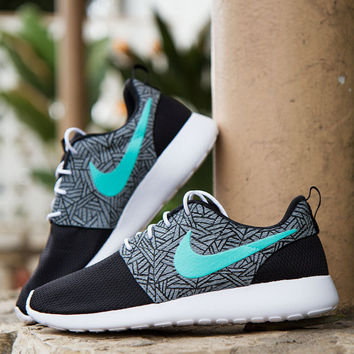 Custom Nike Roshe One abstract with a little gift box blue.