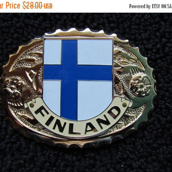 ON SALE Brass Tone Belt Buckle / Finland Belt Buckle / LARGE Belt Buckle / Accessories / Retro Buckles / Belt Accessories / Flag Finland Bel