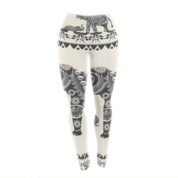 "Famenxt ""Ornate Indian Elephant-Boho"" Black Beige Yoga Leggings"