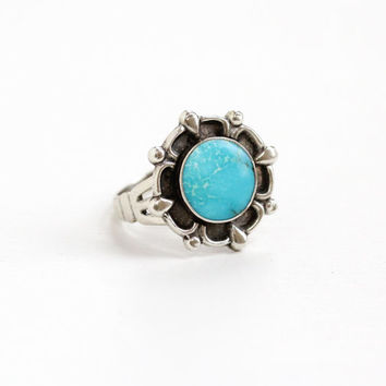 Vintage Sterling Silver Turquoise Blue Stone Ring - Size 9 Retro Southwestern Statement Native American Style Jewelry