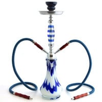 "GSTAR Convertible Series: 18"" 1 or 2 Hose Hookah Complete Set - Pantheon Swirl Glass Vase - (Hadrian Blue)"