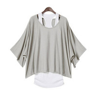 2PCS Fashion Women Sexy Loose Top Casual Batwing Sleeve Dolman Blouse T-Shirt+Tank Vest(Black/Grey/Khaki/BlueSize S-XXL) = 1946003716