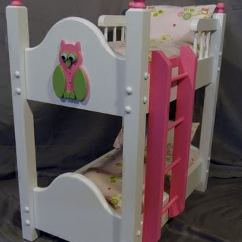 Doll Bunkbed fits American girl doll with Mommy and Baby Owl Bedding
