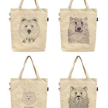 Women Bears in Hand Draw Style Printed Canvas Tote Shoulder Bag WAS_40
