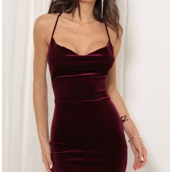 Party dresses > Cowl Neck Velvet Dress in Wine