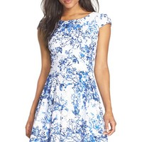 Women's Betsey Johnson Floral Fit & Flare Dress,