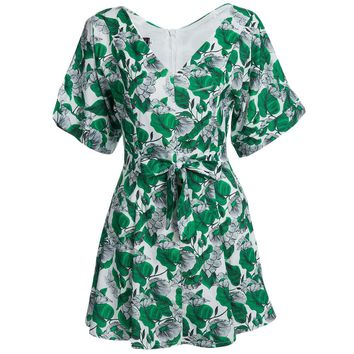 Fresh Style Plunging Neck Flare Sleeve Floral Print Sash Waist A-Line Mini Dress for Women