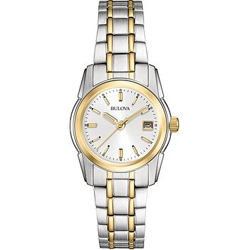 Bulova Ladies Essential Dress Watch - Two-Tone - Silver Dial - Date