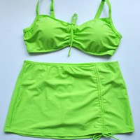 Green Plus Size Spaghetti Strap Two-Piece Swimsuit